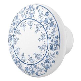 Custom Indigo Blue Floral Border Drawer Knob Ceramic Knob