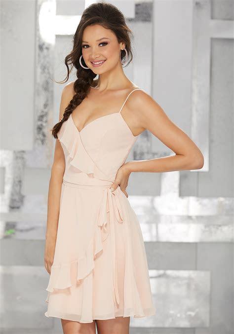 Wrap Style Chiffon Party Dress with Ruffled Neckline