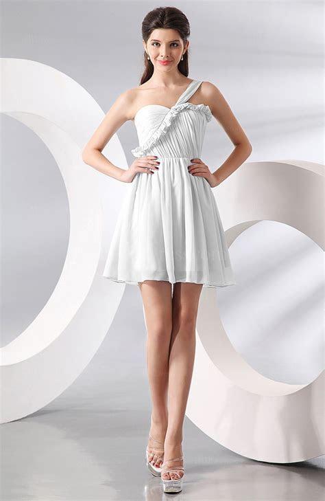 White Elegant A line One Shoulder Chiffon Short Ruching