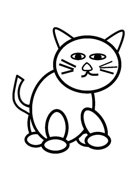 cat  kids simple drawing cats kids coloring pages