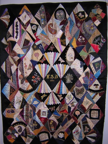 Crazy Quilt with two Redworks - Annette Gero Collection