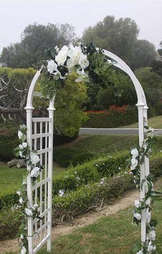 wedding arch decorations ideas   White lattice arch shown