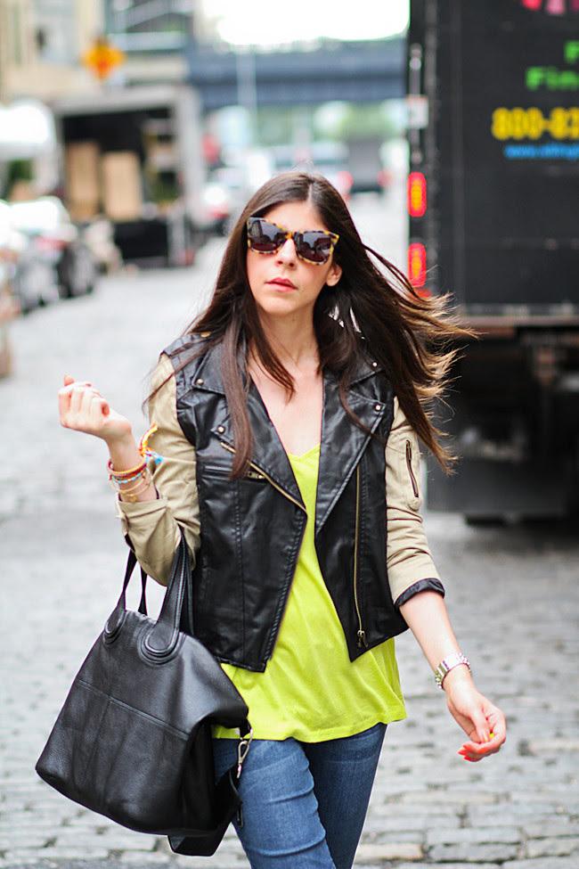 Karen Walker Sunglasses, Soho New York, Neon Fashion, NYFW, Converse, Balenciaga leather jacket style
