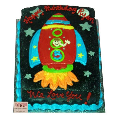 (2118) Rocket Ship Sheet Cake   ABC Cake Shop & Bakery