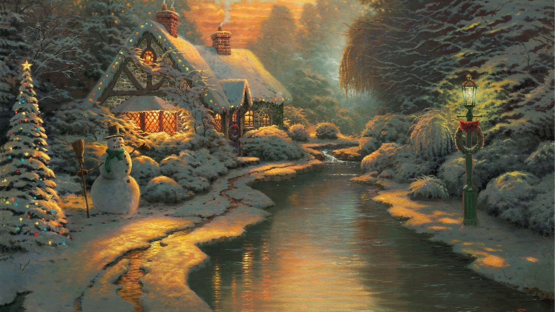 Thomas Kinkade Winter Wallpaper Sf Wallpaper