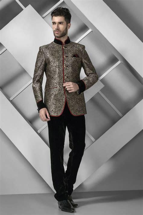 Antique #gold brocade suave #jodhpuri #suit with mandarin