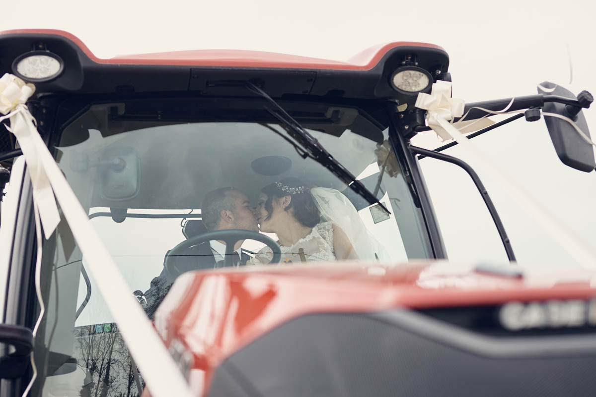Tractor Wedding Car at Copdock Hall Wedding Photos - www.helloromance.co.uk