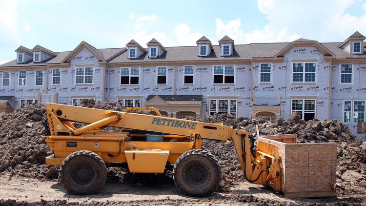 Townhouses under construction in Glenview, Ill.