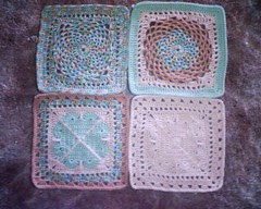 Ravelry CAL Afghan 3 in progress (squares 1-4)