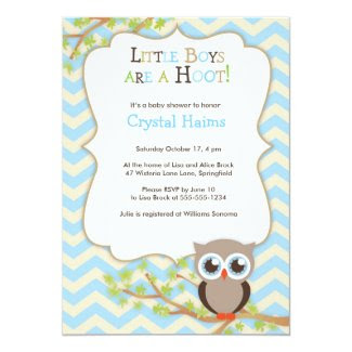 "Chevron Owl Themed Baby Shower Invitations - Boy 5"" X 7"" Invitation Card"