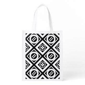 White Equal Sign Geometric Pattern on Black Market Totes