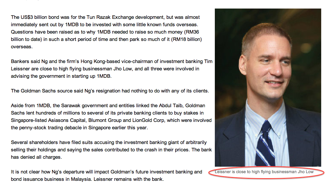 How the business portal The Edge recently linked Goldman's Time Leissner, Robert Ng and Jho Low as the key players in 1MDB. Aabar investments was a key player in Goldman's bond issue for Tanjung Power.