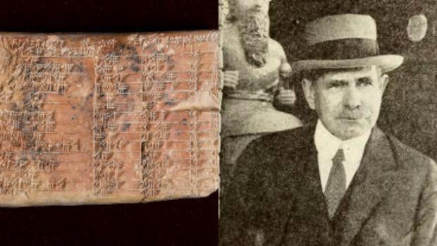 La tablilla, llamada Plimpton 322, y su descubridor, Edgar Banks
