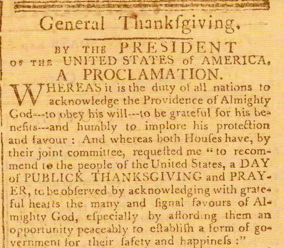 First Thanksgiving Proclamation