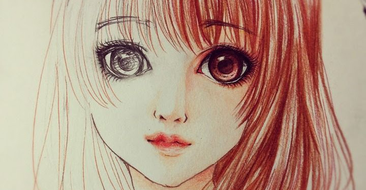 Realistic Cute Anime Girl Pencil Drawing