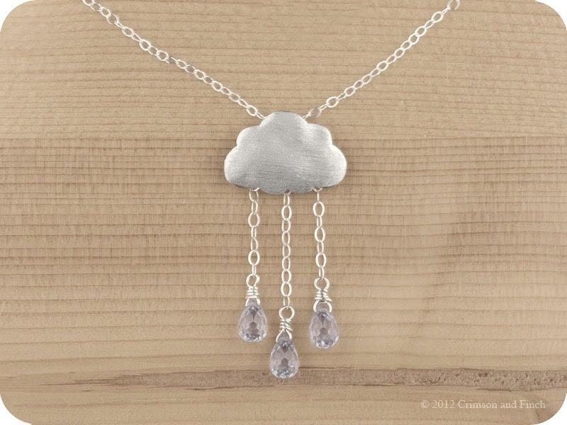 "Sterling silver, Lilac rain cloud necklace ""Lilac Rain"" - crimsonandfinch"