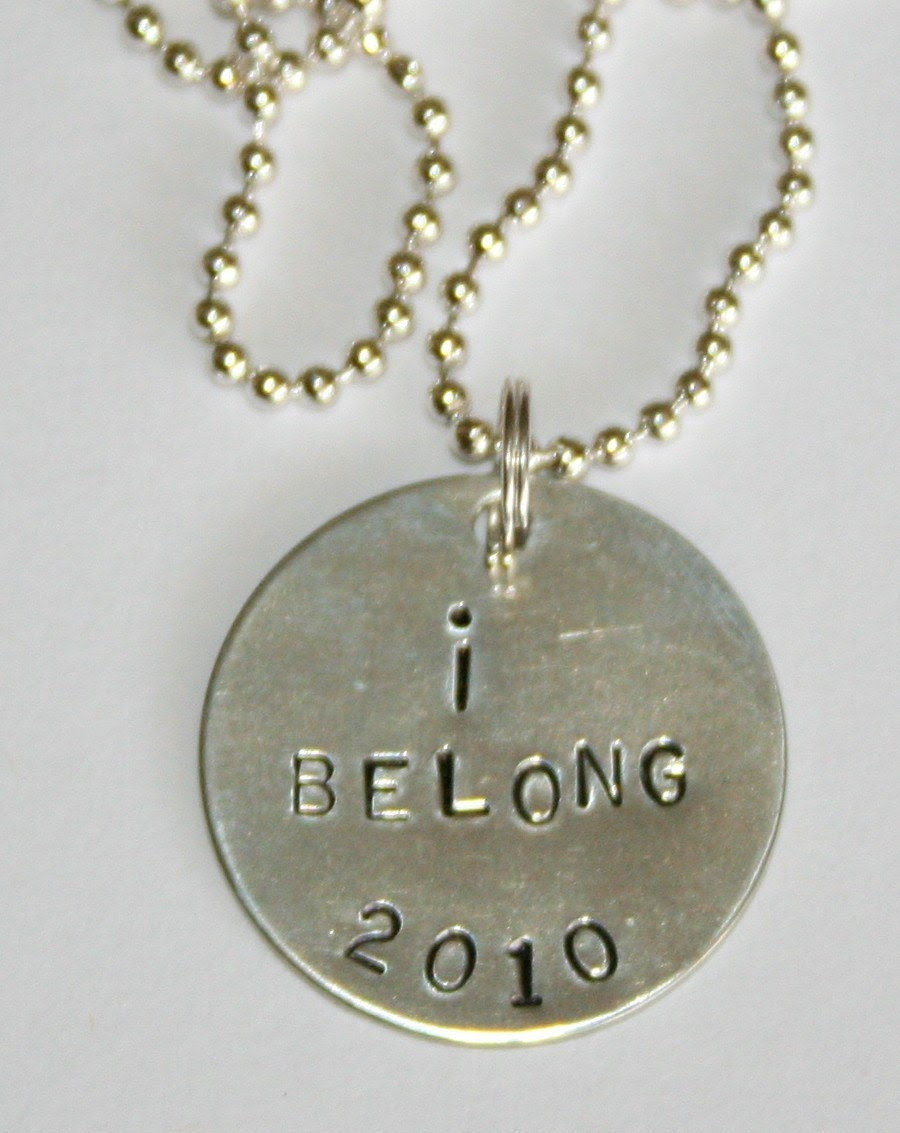 I BELONG handstamped baptism necklace