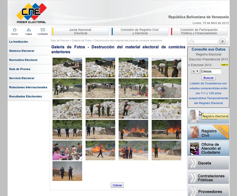 Galería de fotos del CNE de donde toman fotos de quema de material antiguo para denunciar un falso fraude