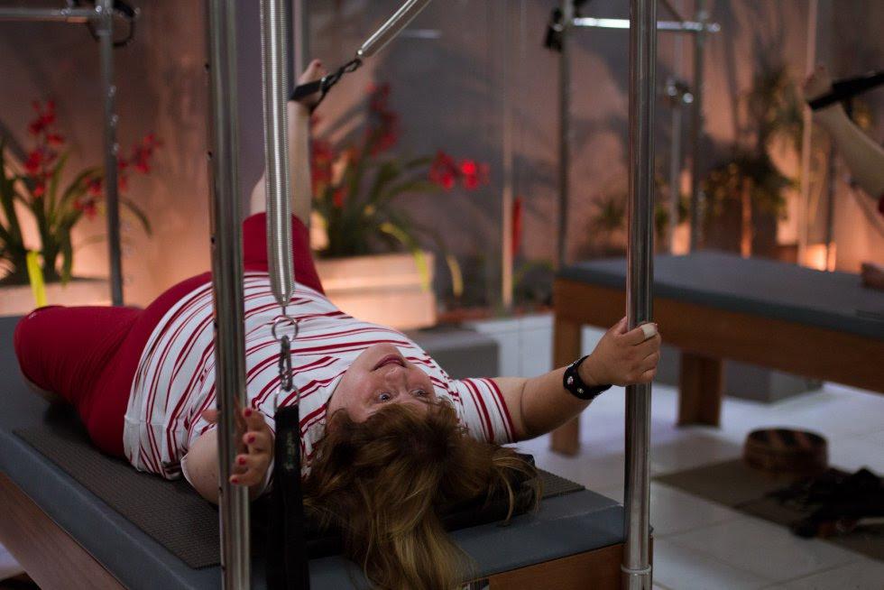 Bárbara na aula de Pilates.