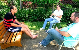 Equipe do Globoesporte.com entrevista Ceni no CT do São Paulo (Foto: Marcos Ribolli / Globoesporte.com)