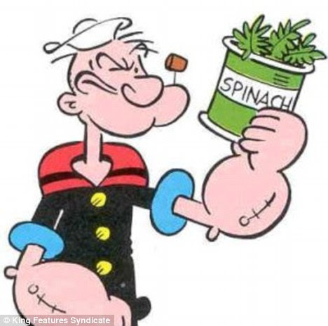 Music to Popeye's ears: Antioxidant-rich fruit and vegetables - including spinach - could help fight the dementia symptoms