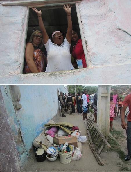 Dona Júlia, conhecida por Índia se manteve dentro da casa apoiada por populares enquanto seus pertences começavam a ser colocados do lado de fora