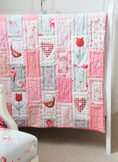 Helen Philipps: Petunias, Bluebells and a Tulip Quilt, pink quilt, baby girl quilt