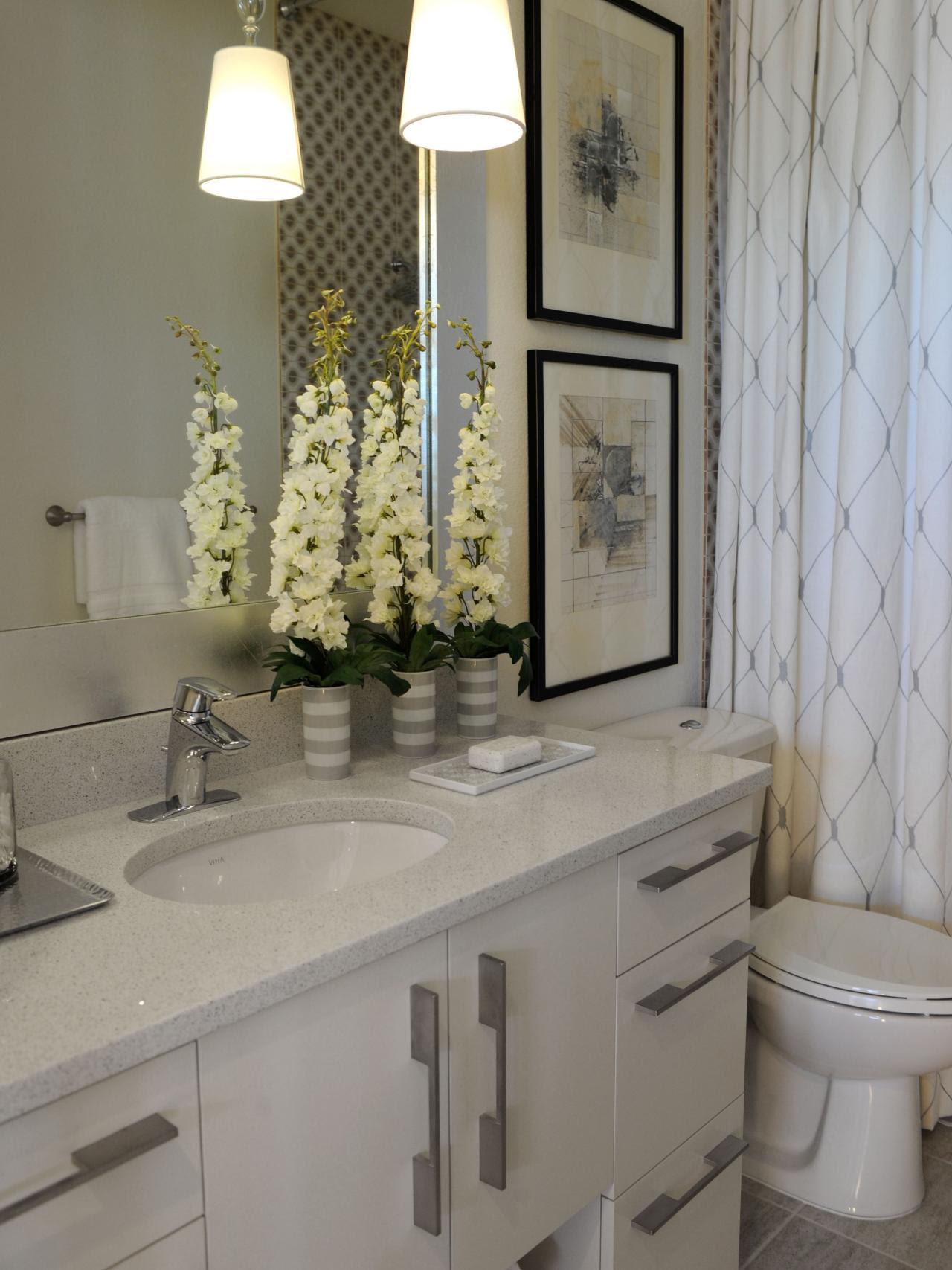 Neutral Hall Bathroom With Quartz Countertops   HGTV