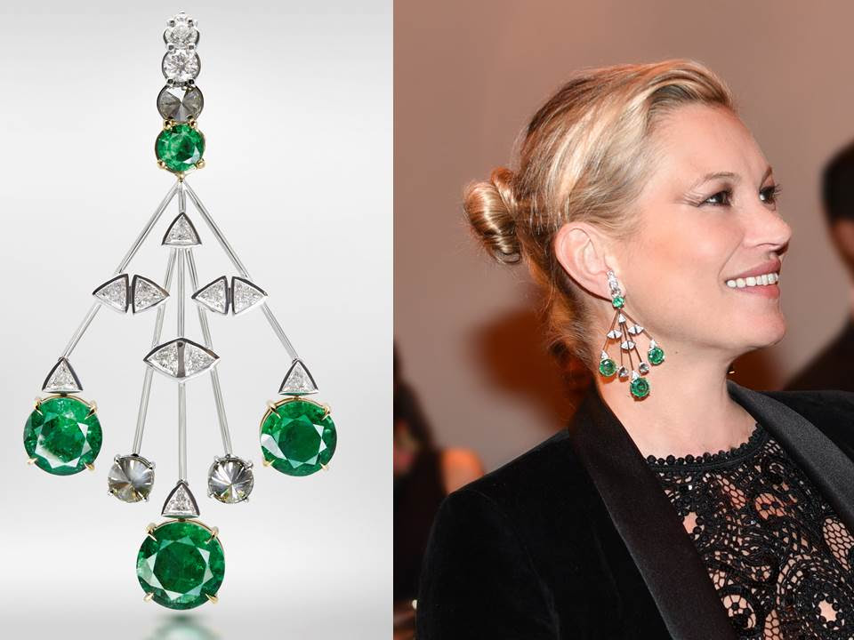 Kate Moss wearing the 18K White Gold Hook emerald earrings with smoky and white diamonds a the 2016 AMfar event in Sao Paolo