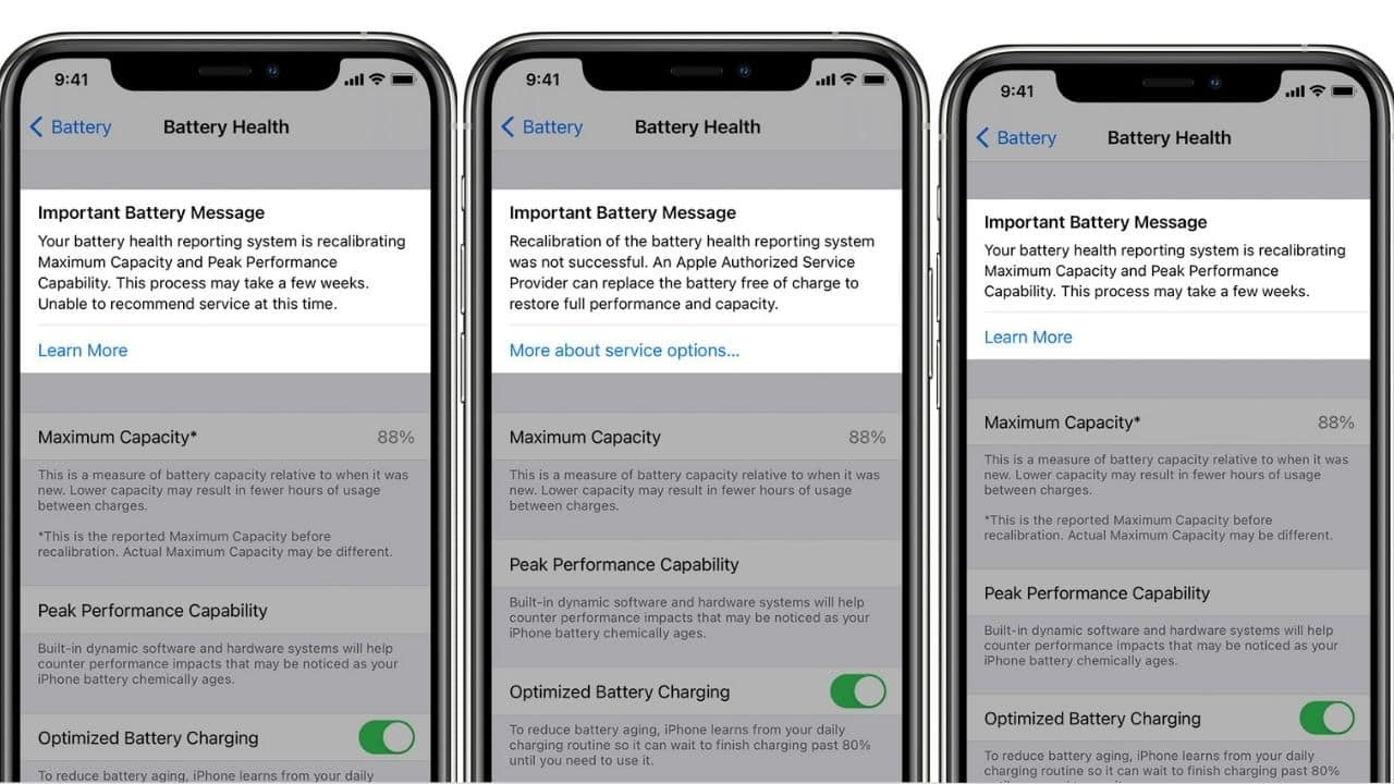 Recalibration of battery health reporting on iPhone 11, iPhone 11 Pro, and iPhone 11 Pro Max