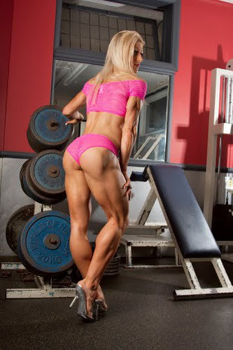 Clare Taubman string calves in gym with high heels