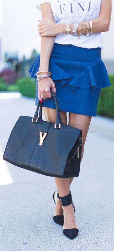 Theory Blue A-line Ruffle Mini Skirt by Styled Avenue