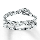 10k White Gold 0.19 ct Solitaire Enhancer Diamonds Ring