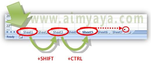 Gambar: Cara memindahkan beberapa Sheet sekaligus di Microsoft Excel