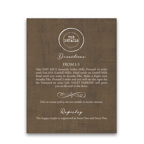 Vineyard Wedding Additional Information Insert Cards