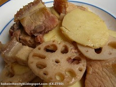 stir fry siew yuk with arrowhead n lotus root