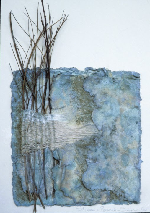 ariesascending:  Blue Mountains Landscapes - Trees and Water by inga Hunter Layered handmade cotton paper, pastel, paint, sticks twined with silk thread.