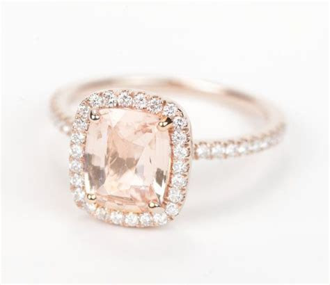 Certified Peach Champagne Cushion Sapphire & Diamond Halo
