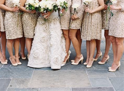 new orleans black tie wedding bridesmaid dresses gold