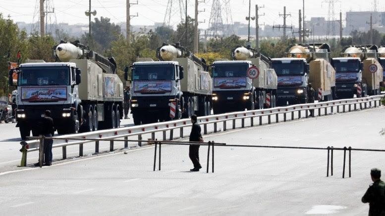 File Photo: Iranian long range missiles are displayed during the annual military parade. EPA, Abedin Taherkenareh
