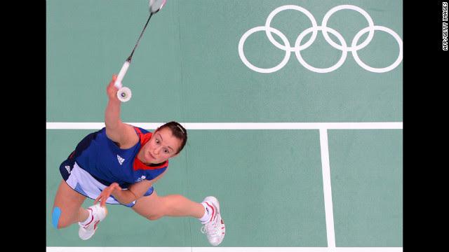 Britain's Susan Egelstaff returns the shuttlecock during a women's singles badminton match Tuesday.