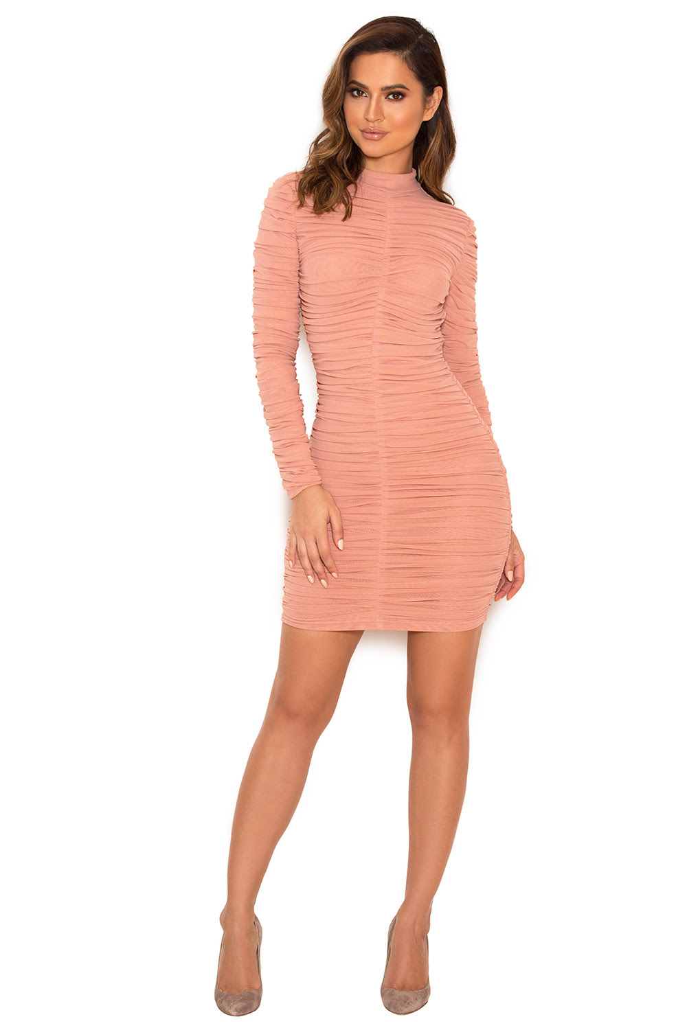 Natural fabrics feather skirt bodycon dress pink dusty clubs