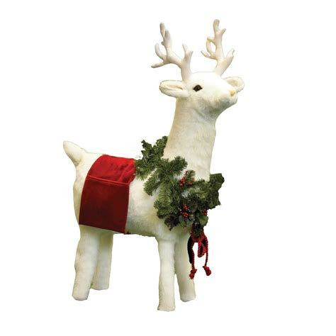 White Reindeer Footrest with Red Trim   Christmas