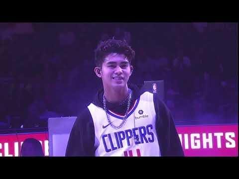 Inigo Pascual at LA Clippers Filipino Heritage Night Halftime At Staples Center