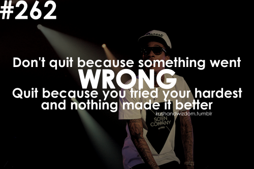 Dont Quit Because Something Went Wrong Quit Because You Tried Your
