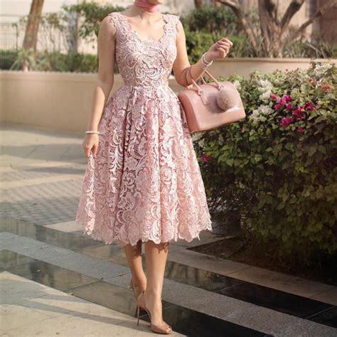 elegant champagne lace tea length wedding dresses ? alinanova