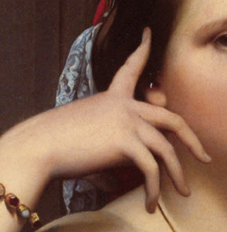 detail of the right hand in the portrait of Madame Moitessier by JAD Ingres