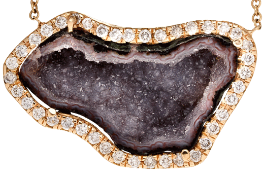 CURRENT INSPIRATION KIMBERLY MCDONALD GEODE AGATE NECKLACE DIAMONDS 6