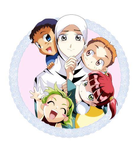 kartun keluarga muslim ibu  anak anaknya kartun