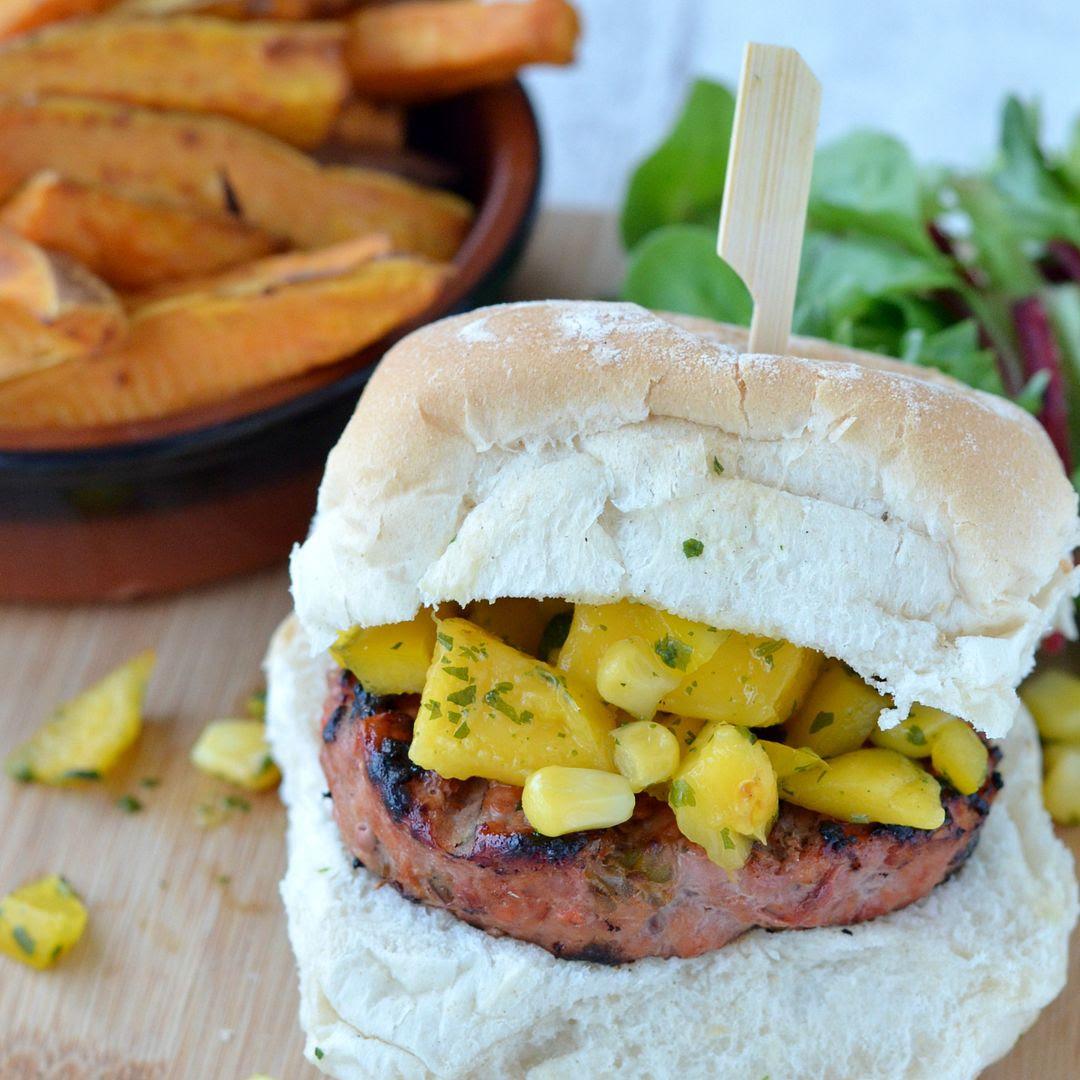 Quarter Pound Mediterranean Burgers with Mango salsa